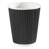 12oz Black Kraft Ripple Cups 500 (0442blk)